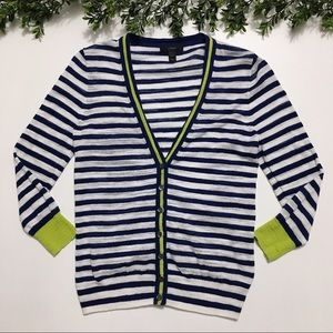 {J. Crew}Navy & White Stripe Cardigan w/ Lime Trim
